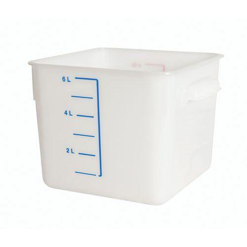 Firkantet plastopbevaringsbeholder med måleskala