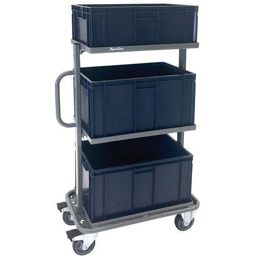 Vogn med 3 kasser - kapacitet 200 kg - Manutan