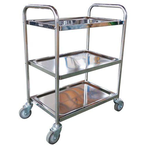 Vogn i rustfrit stål - 3 niveauer - kapacitet 100 kg - Manutan