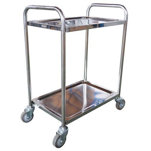 Vogn i rustfrit stål - 2 niveauer - kapacitet 100 kg - Manutan